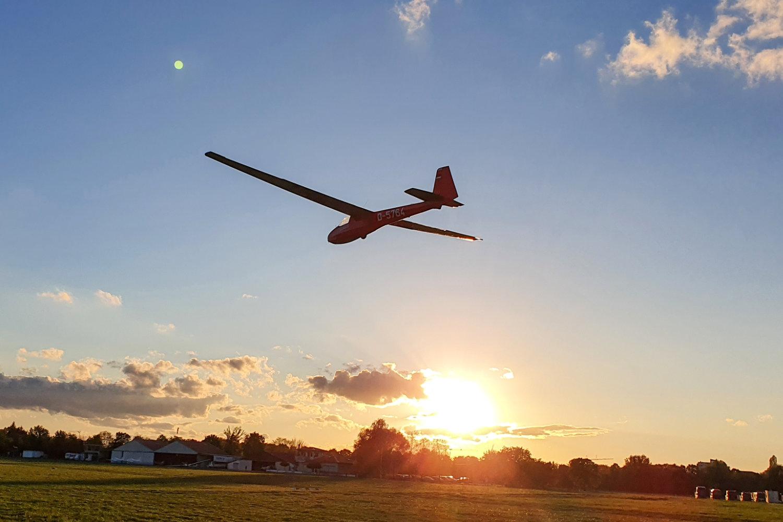Ein Segelflugzeug vom Typ Ka-8 mit dem Kennzeichen D-5764 schwebt bei niedrigem Sonnenstand über die Piste.